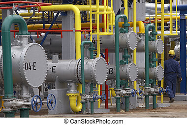 industry 5 - close up of industrial pipes of oil industry ...