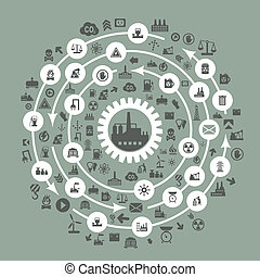 Industry a circle - The industry round factory. A vector ...