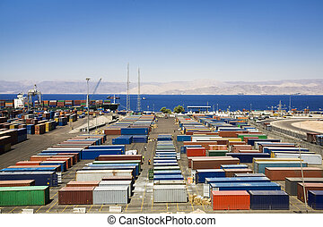 industry and commerce: panoramic view of containters in a ...