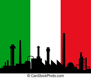 Industry and flag of Italy