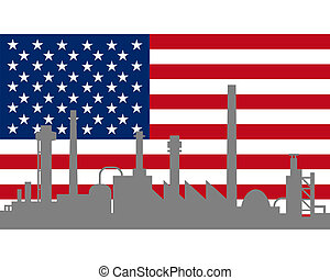Industry and flag of USA