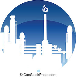 Industry and fuel refinery icon with a petrochemical plant...