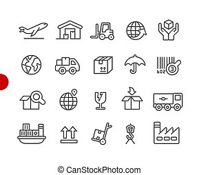 Industry and Logistics Icons // Red Point Series