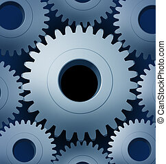 Industry and manufacturing with a close-up of Machine Gears and cogs gowing round representing progress and industrial technology teamwork.