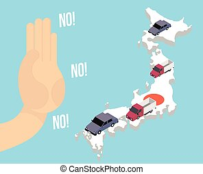industry., auto, japonaise, arrêts, main, production, prohibition, japon, importation, voiture