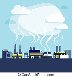 Industry background print - Industrial facilities of factory...