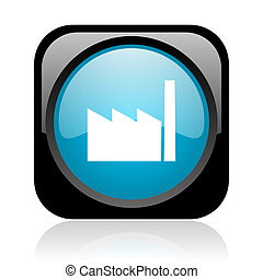 industry black and blue square web glossy icon