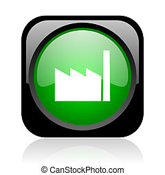 industry black and green square web glossy icon