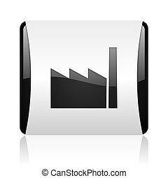 industry black and white square web glossy icon
