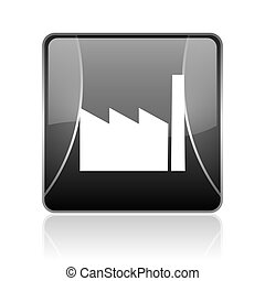 industry black square web glossy icon