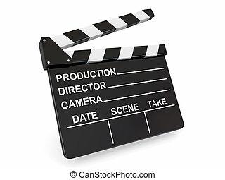 industry., blanco, clapperboard, fondo., película
