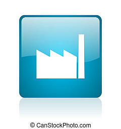 industry blue square web glossy icon