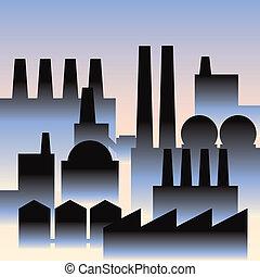 Industry Buildings - Industrial buildings in a cartoon, art...