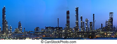 Industry by Night - This is a big oil-works in night ligths.