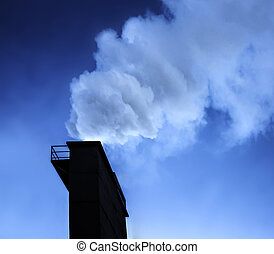 Industry chimney with smoke