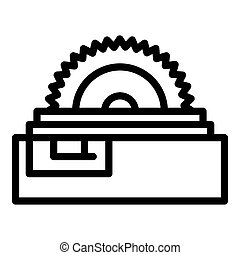 Industry circular saw icon, outline style