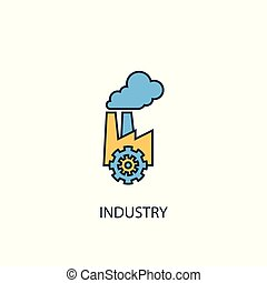 industry concept 2 colored line icon. Simple yellow and blue element illustration. industry concept outline design