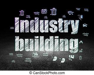Industry concept: Industry Building in grunge dark room