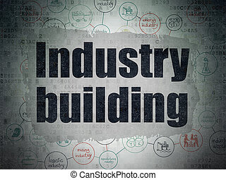 Industry concept: Industry Building on Digital Data Paper background