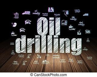 Industry concept: Oil Drilling in grunge dark room