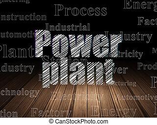 Industry concept: Power Plant in grunge dark room