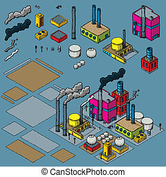 Industry Construction Kit - Cartoon industrial objects for...