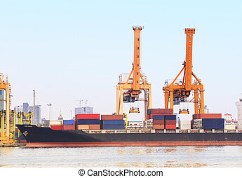 industry container ship on port for