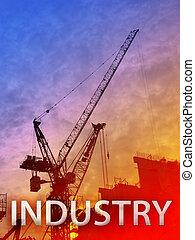 Industry - Digital collage illustration of construction ...