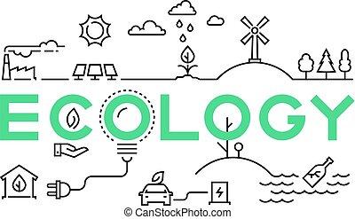 industry., ekologia, handlowy, natura, worming, ekosystem, concept., globalny, środowisko, eco, komplet, zielony, innowacja, recycling, kreska