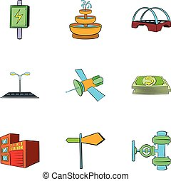 Industry facilities icons set, cartoon style
