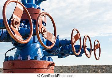 industry., fogalom, gáz, wellhead., olaj