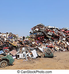 Heap of metal for recycling