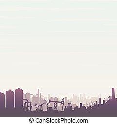 industry., huile, essence, panoramique, vecteur, paysage