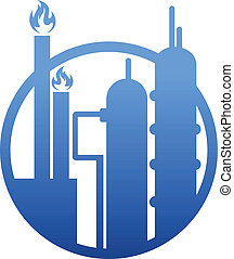 Industry icon showing a factory or petrochemical refinery...