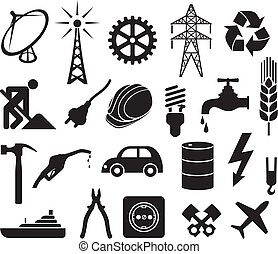 industry icons collection (power plug, oil barrel, hammer,...