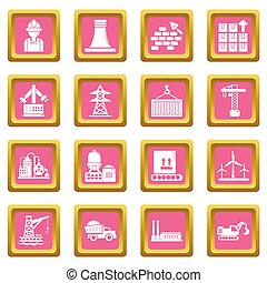 Industry icons set pink square