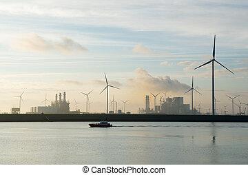 Industry in harbor - Industry in Dutch harbor in sunrise