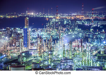 Industrial skyline in Yokkaichi, Japan.