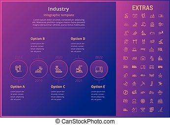 Industry infographic template, elements and icons.