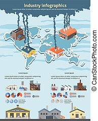 Industry Infographics Set - Industrial buildings factories...