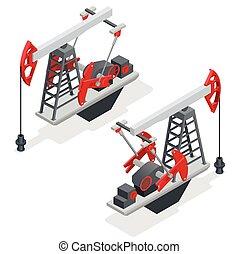 industry., isométrique, industriel, plat, pump., énergie, petroleum., essence, huile, machine, pompe, vecteur, illustration, derrick, infographic., 3d