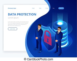 industry., isometric, unidade, sala, technology., concept., base dados, prateleira, servidor, equipamento, telecomunicação, proteção, computando, digital, segurança internet, server., rede, escudo