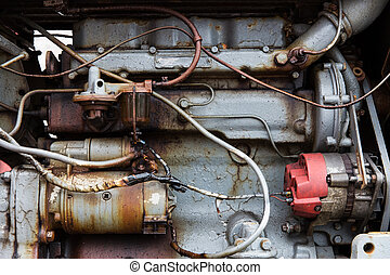 close up of vintage engine