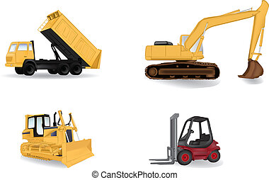 Detailed industry machines vector illustration