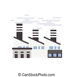 Industry manufactory building, plant or factory vector illustration
