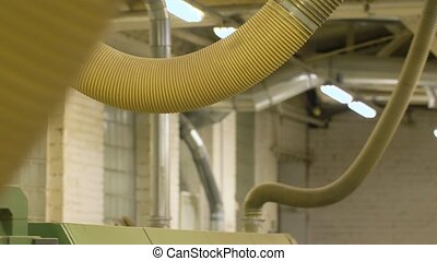 air duct pipes at workshop or factory shop - industry,...