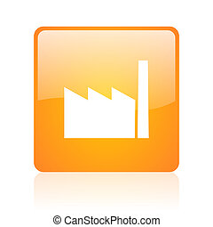 industry orange square glossy web icon