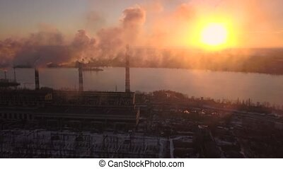 Industry Pipes Pollute the Atmosphere With Smoke. Aerial view