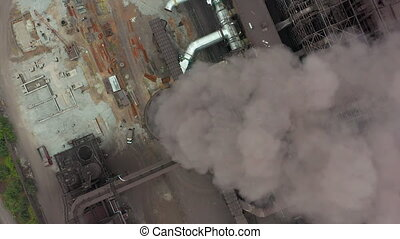 Industry pipes pollute the atmosphere with smoke, ecology...