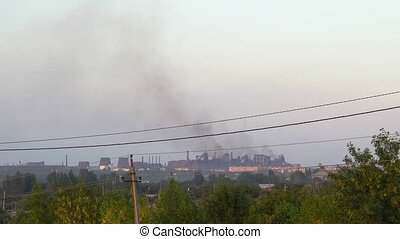 Industry Pipes Pollute the Atmosphere With Smoke. Plant